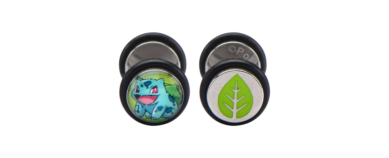 Bulbasaur & Leaf Stainless Steel Screw-Back Faux Plug Earrings