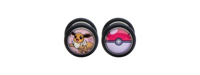 Eevee & Pokeball Stainless Steel Screw-Back Faux Plug Earrings