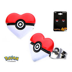 Pokeball Heart Stainless Steel Stud Earrings