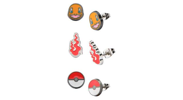 Charmander, Pokeball, Flame Stainless Steel Stud Earring Set
