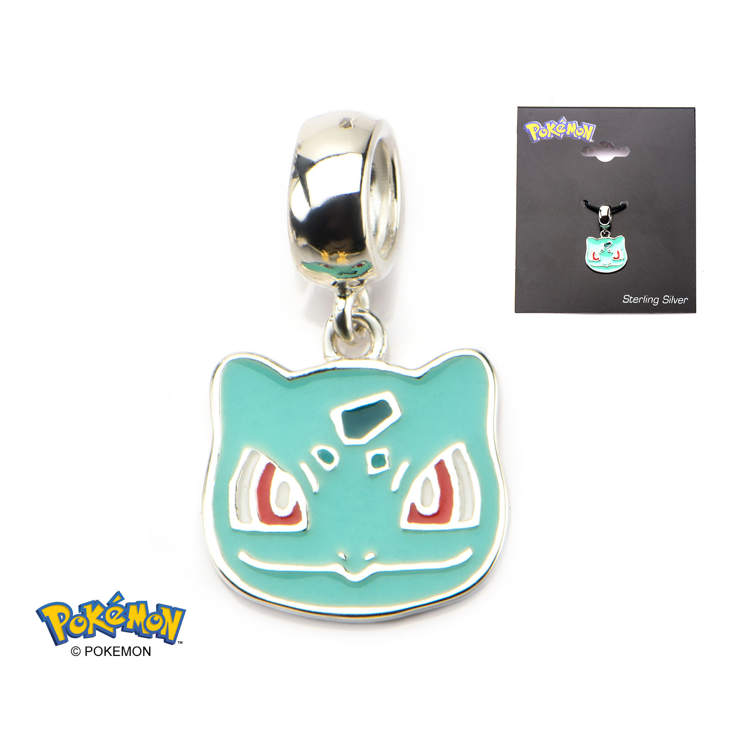 Bulbasaur Head Sterling Silver Dangle Charm