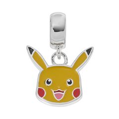 Pikachu Head Sterling Silver Dangle Charm