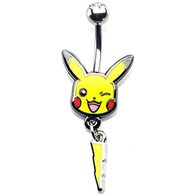 Pikachu & Lightning Bolt 14-Gauge 7/16 Stainless Steel Navel Dangle