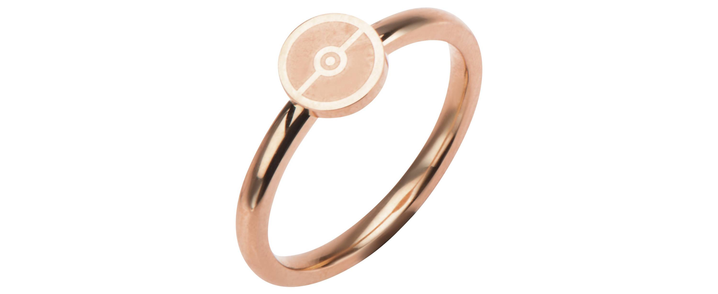 Pokeball Rose Gold-Plated Stainless Steel Ring - Size 8