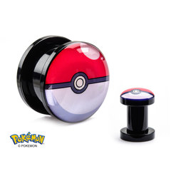 Pokeball Screw-Fit 0-Gauge Acrylic Plugs