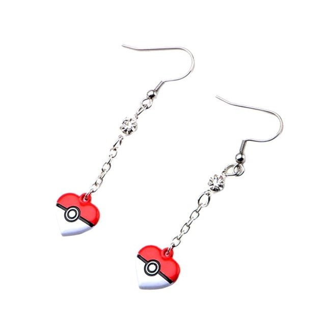 Pokeball Heart Stainless Steel Dangle Earrings