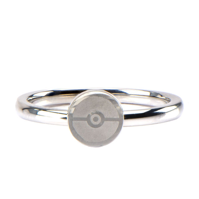 Pokeball Stainless Steel Ring - Size 6
