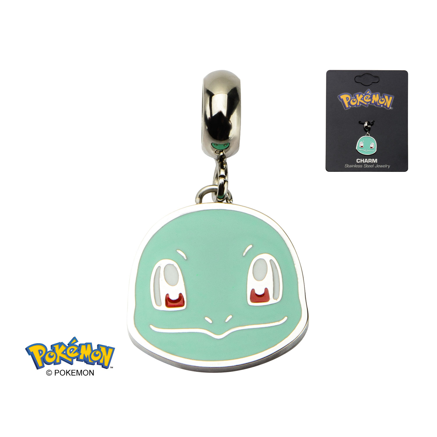 Squirtle Head Stainless Steel Dangle Charm