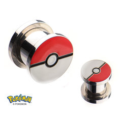 Pokeball Steel Screw-Fit Plug - 2 Gauge