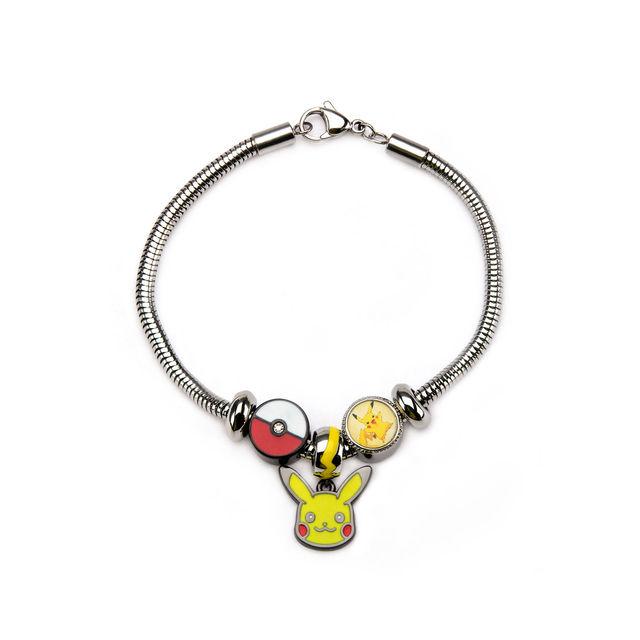 Pikachu Stainless Steel Bead Charm Bracelet Set