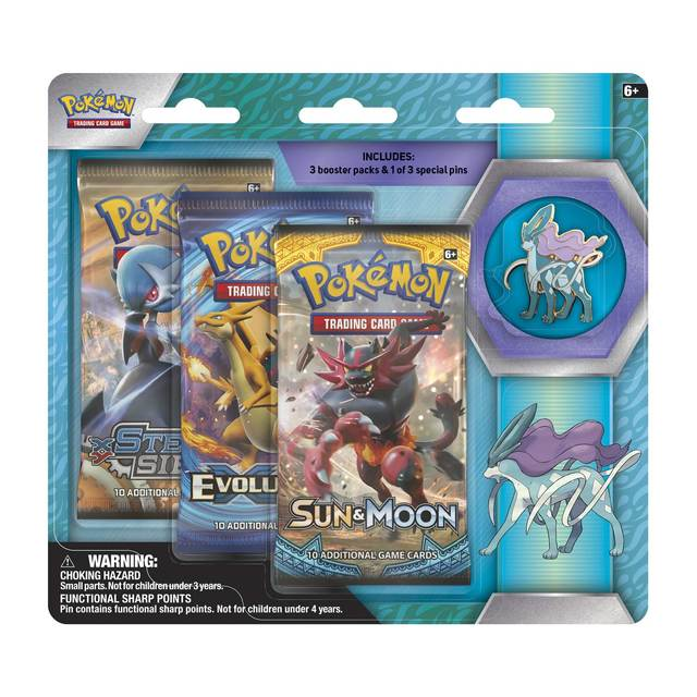 Pokemon Legendary Beasts 3-Booster Blister Pack - Suicune Pin