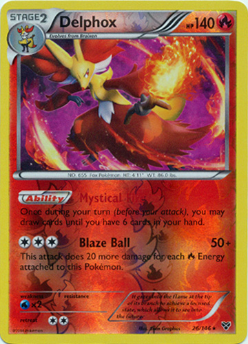 Delphox - 26/146 - Rare - Reverse Holo - Pokemon Card ...