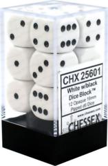 Chessex Dice CHX 25601 Opaque 16mm D6 White w/ Black Set of 12