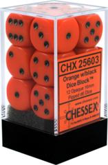 Chessex Dice CHX 25603 Opaque 16mm D6 Orange w/ Black Set of 12