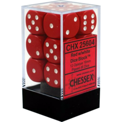 Chessex Dice CHX 25604 Opaque 16mm D6 Red w/ White Set of 12