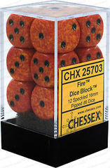 Chessex Dice CHX 25703 Speckled 16mm D6 Fire Set of 12