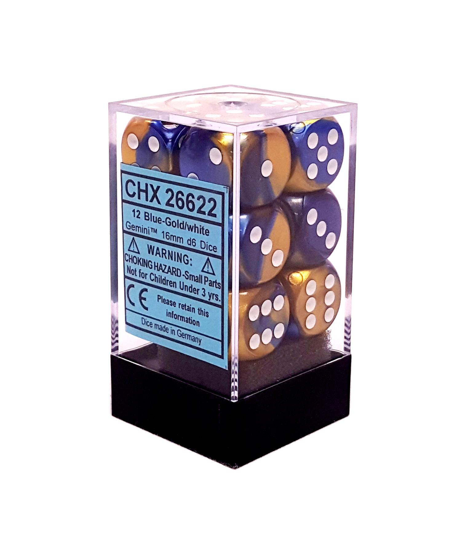Chessex Dice CHX 26622 Gemini 16mm D6 Blue-Gold W/ White