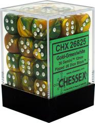 Chessex Dice CHX 26825 Gemini 12mm D6 Gold-Green w/ White Set of 36
