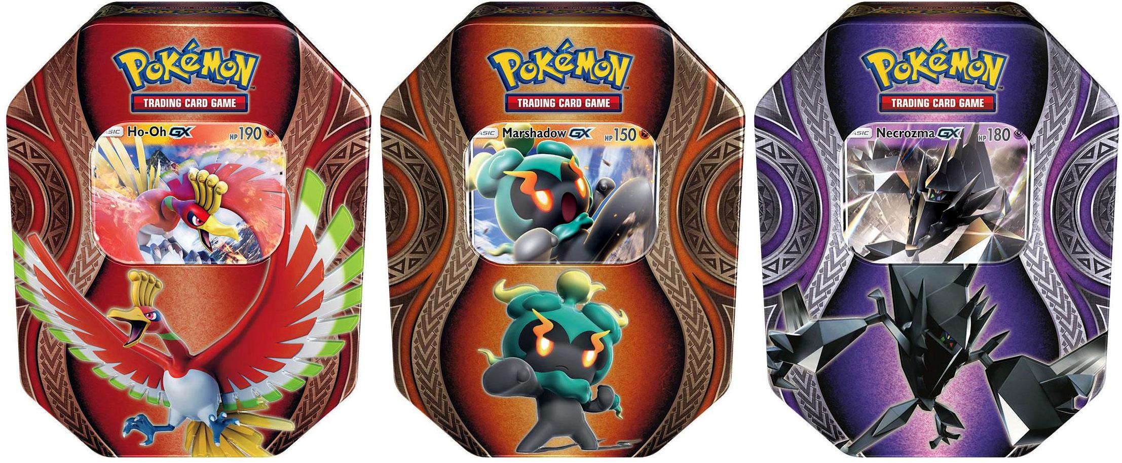 pokemon set of 3 mysterious powers tins ho oh gx necrozma gx