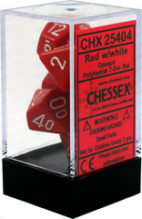 Chessex Dice CHX 25404 Opaque Polyhedral Red w/ White Set of 7