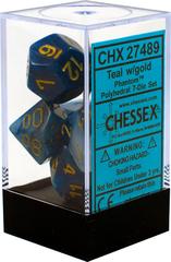 Chessex Dice CHX 27489 Phantom Polyhedral Teal w/ Gold Set of 7