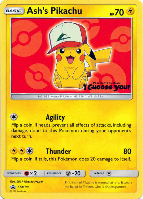 Ashs Pikachu SM109 Non-Holo Promo - Pokemon The Movie I Choose You!