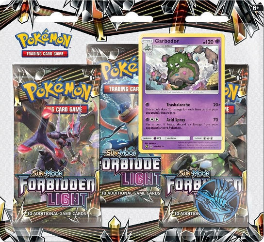 Pokemon Sun & Moon SM6 Forbidden Light 3-Booster Blister Pack - Garbodor Promo