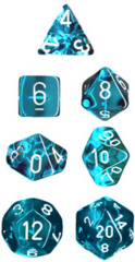 Chessex Dice CHX 23085 Translucent Polyhedral Teal w/ White Set of 7