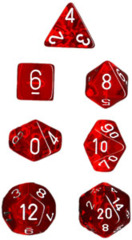 Chessex Dice CHX 23074 Translucent Polyhedral Red w/ White Set of 7