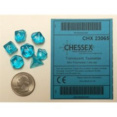 Chessex Dice CHX 23065 MINI Translucent Polyhedral Teal w/ White Set of 7