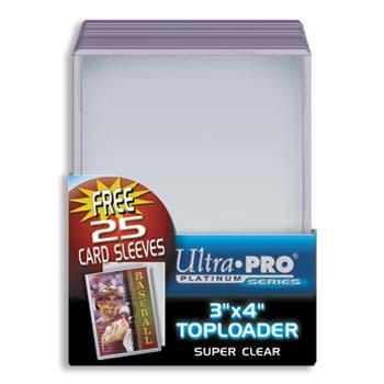 Ultra Pro 3 x 4 Toploaders w/ Soft Sleeves Clear Pack of 25 Top Loaders 35pt