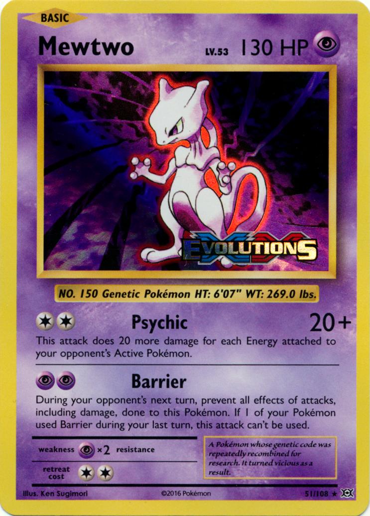 Mewtwo 51/108 Sheen Holo Promo - XY Evolutions Prerelease