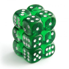 Chessex Dice CHX 23605 Translucent 16mm D6 Green w/ White Set of 12
