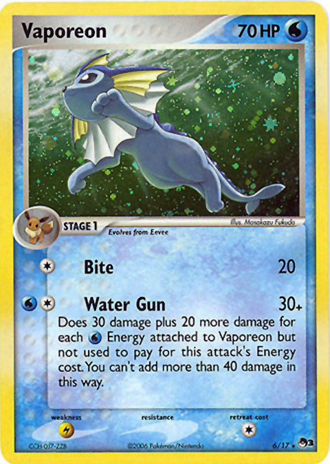 Vaporeon 6//17 POP 3 Series Holo Rare
