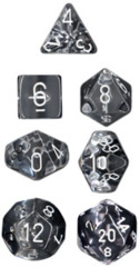 Chessex Dice CHX 23071 Translucent Polyhedral Clear w/ White Set of 7