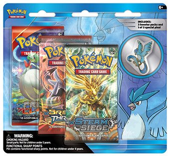 Pokemon Legendary Birds 3-Booster Blister Pack - Articuno Pin