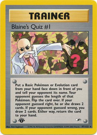 Blaines Quiz #1 - 97/132 Rare - 1st Edition