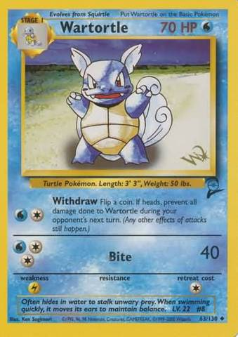 Wartortle 63/130 Non-Holo Gold W Stamp Promo - 2000 Top Deck Magaize