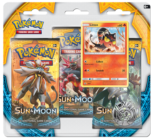 Pokemon Sun & Moon SM1 3-Booster Blister Pack - Litten Promo