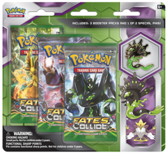 Pokemon XY10 Fates Collide 3-Booster Blister Pack - Zygarde Pin
