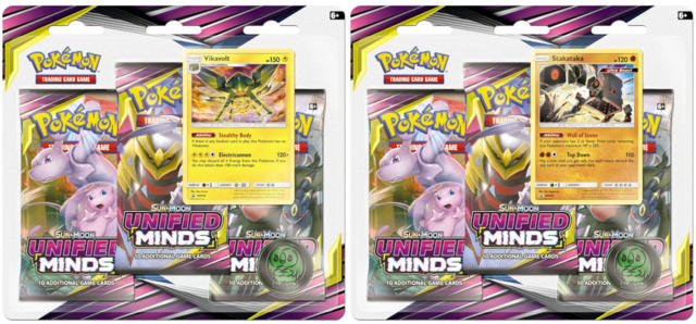 Pokemon Sun & Moon SM11 Unified Minds 3-Booster Blister Packs: Set of 2
