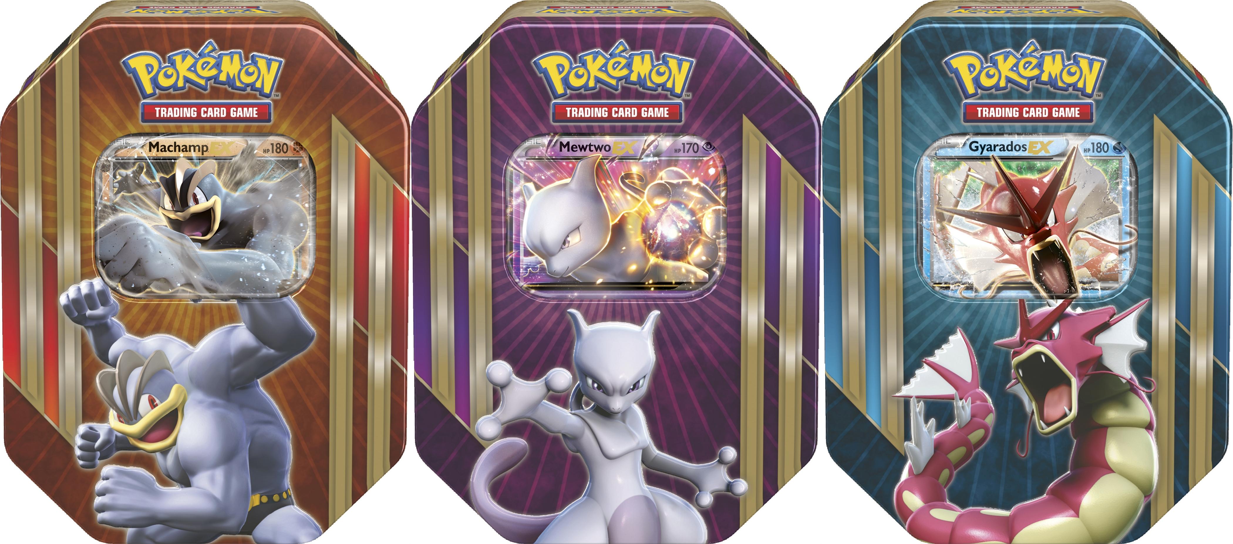 Pokemon Triple Power Tin set of 3 - Mewtwo EX, Machamp EX