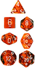 Chessex Dice CHX 23073 Translucent Polyhedral Orange w/ White Set of 7