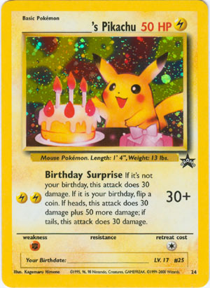 S Pikachu Happy Birthday 24 Holo Promo