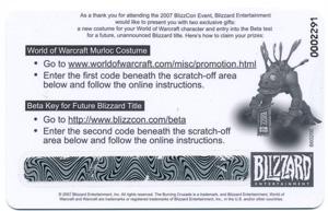 2007 Blizzcon World of Warcraft Anaheim Exclusive Murloc Costume Loot Code Card