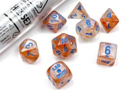 Borealis Polyhedral Rose Gold/Light Blue Luminary 7ct Lab Dice Set