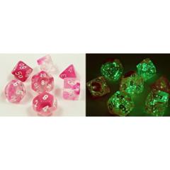 Chessex - Gemini - Clear-Pink/White 8pc - CHX30042