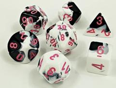 Chessex - Gemini - Black-White/Pink 8pc - CHX30043