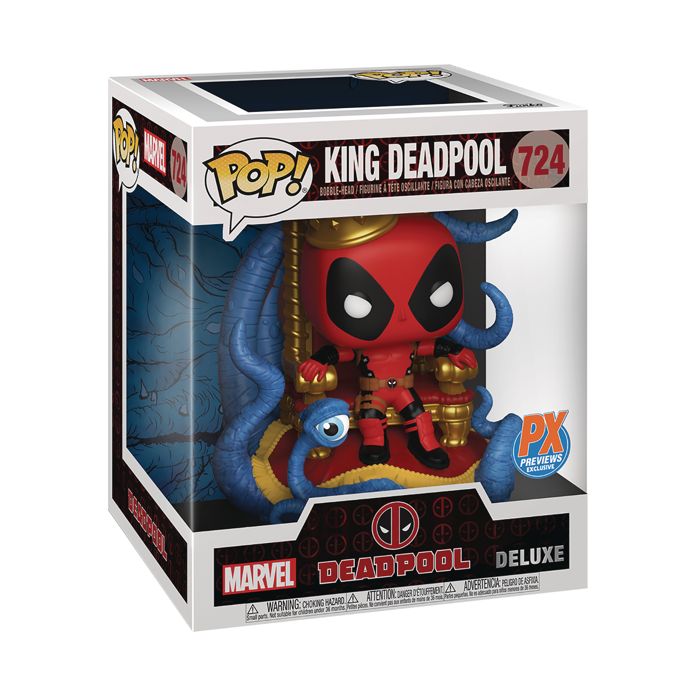 Pop! Deluxe Marvel Heroes - King Deadpool On Throne PX Exclusive Vinyl Fig