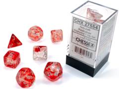 Chessex - Nebula Red/Silver Luminary  7pc - CHX27554